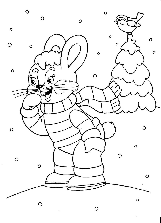 Раскраски зимние забавы в детском саду